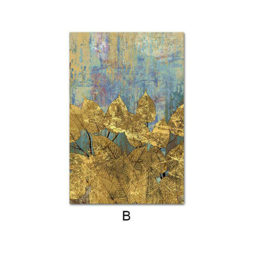 Golden Tree Leaf Canvas Poster Abstract Art Print Modern Home Decoration Picture