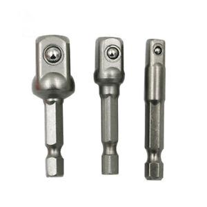 "3Pcs//Set Socket Bit Adapter Drill Nut Driver Power Extension Bar 1//4/"" 3//8/"" 1//2/"""