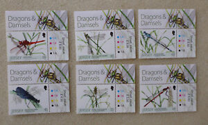 2013-JERSEY-DRAGONS-amp-DAMSELS-DRAGONFLIES-SET-OF-6-MINT-STAMPS
