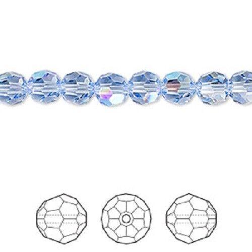 Swarovski round Austrian crystal beads facet Light Sapphire Shimmer 4mm 6mm