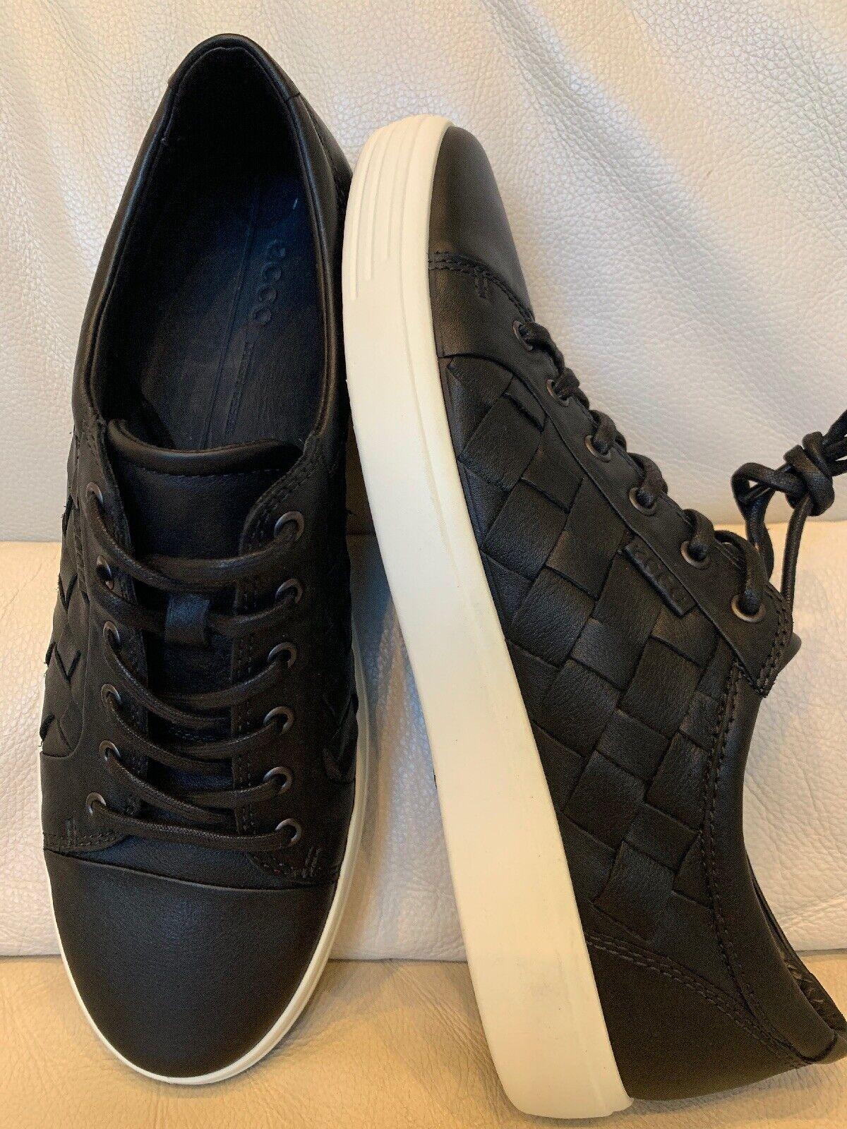 ecco black leather sneakers