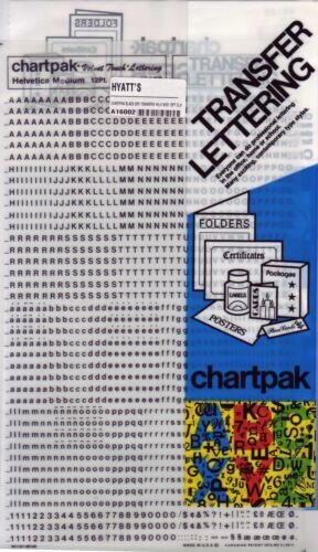 Chartpak Black Dry Transfer Helv Med 12Pt Cln