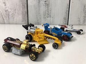 Lot-4-MOTOR-Drag-Racing-Race-Cars-Mattel-Hot-Wheels-Die-Cast-Toy-Car-Mattel-Kids