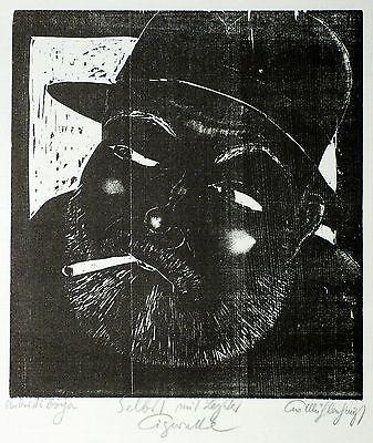 KURT MÜHLENHAUPT - Selbst mit letzter Cigarette - Holzschnitt 1972