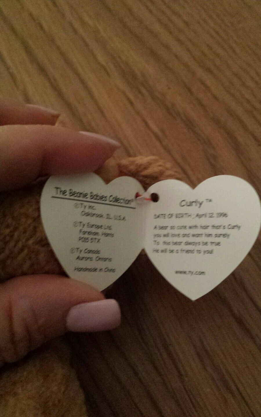 Rare Retired Retired Retired Ty Beanie Baby 'Curly' The Bear With Many Errors Mint a76c5d