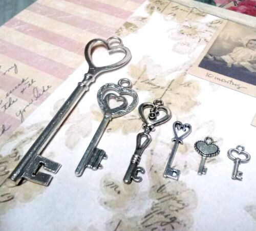 Skeleton Key Charms Assorted Lot Heart Keys Steampunk Supplies 11//22pcs