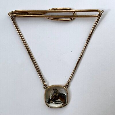 Vintage Swank Fancy HORSE Silver Plated Brass TieClip Clasp Signed Swank Used USA