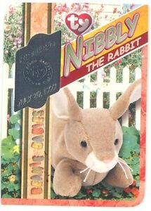 TY Beanie Babies BBOC Card - Series 4 Retired (SILVER) - NIBBLY Rabbit (#/4704)