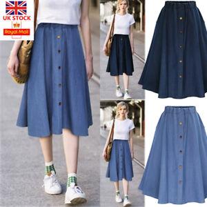 2920f1cda9 Image is loading Women-Button-Denim-Jeans-Swing-Skirt-Ladies-Elastic-