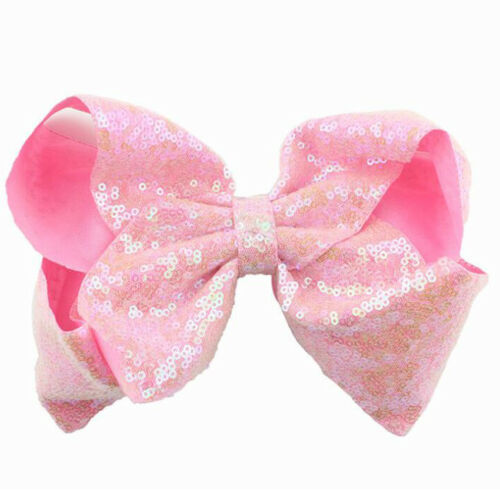 Baby Girls Toddler Kids Large Big Bow Sequin Hairpin Alligator Hair Clips 8 inch