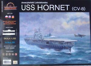USS Hornet CV-8 Aircraft Carrier Paper Model Scale 1:200 + Laser Frames