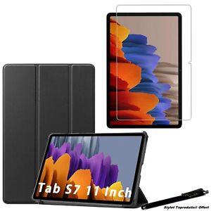 """Coque Smart Noir pour Samsung Galaxy Tab S7 Plus 12.4"""" T970 +Vitre de protection"""