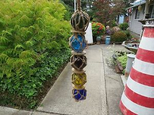 STRING OF FIVE 2 INCH CURIO GLASS FLOATS BALLS BUOYS BOUYS NET