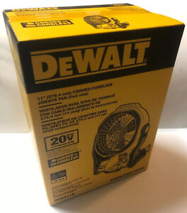 "BRAND NEW DEWALT DCE511B 20V 20 Volt MAX Li-Ion 11"" Cordless/Corded Jobsite Fan"