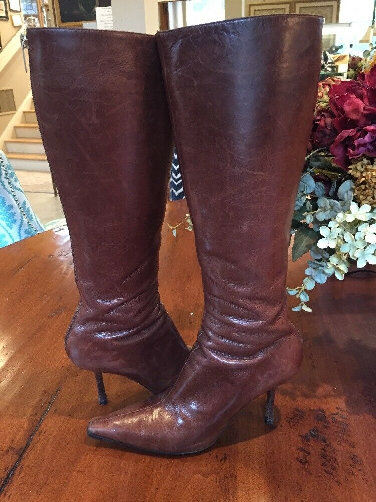 Jimmy Choo Brown Pelle Knee High Pointy Toe Stivali Size 39 1/2 (US 8.5)