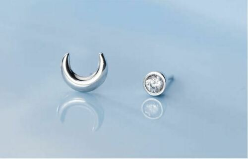925er Sterling Silber Damen Ohrringe Ohrstecker Halbmond Mond Moon Symbol NEU