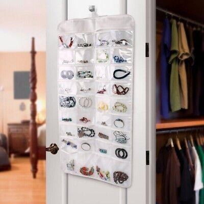 Hanging Jewellery Organiser Double Sided Storage Bag 72 Pocket Travel Display HD