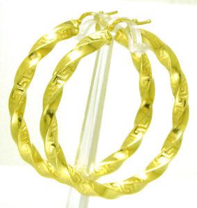 14-Kt-Damen-Creolen-Ohrringe-585-Gold-Gelbgold-gedreht-mit-Maeander-Muster-Neu
