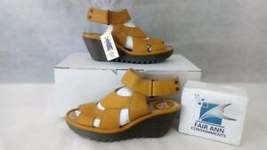 FLY-London-Leather-Wedge-Sandals-Yair-Yellow-EU-35-US-5-NEW-w-Tags