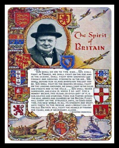 THE SPIRIT OF BRITAIN WINSTON CHURCHILL WARTIME SPEECH METAL PLAQUE SIGN 1524