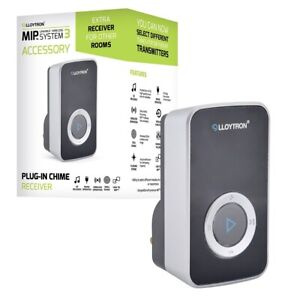 Lloytron MIP3 Wireless Door Bell System - Spare Mains Chime Receiver Unit - Blac