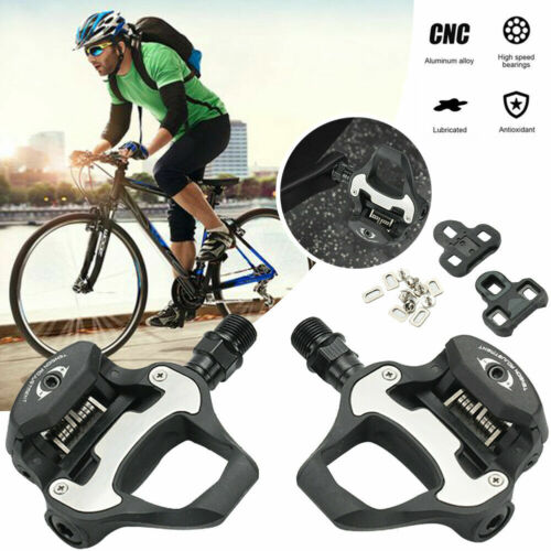 NEW Road Bike Pedals Clipless Bicycle Self-locking with Cleats MTB Cycling Black
