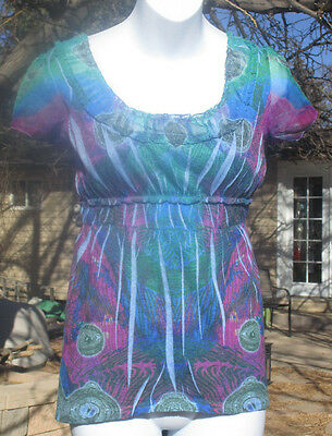 ONE WORLD TOP SHIRT BLUE GREEN MAGENTA SIZE MEDIUM