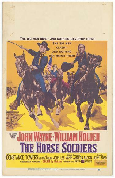 Reprint For The Horse Soldiers 1959 John Wayne William Holden Movie Art Poster