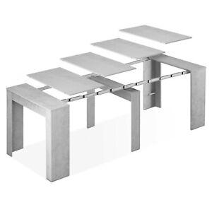 Detalles de Mesa de comedor, mesa consola extensible mesa cocina recibidor,  Gris Cemento