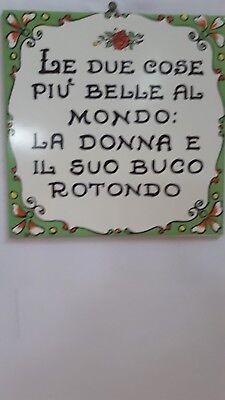 """Piastrella Mattonella Ceramica Artistica 15 x 15 /""""DECORO A MANO/"""" PROVERBI M2"""