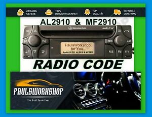 ORIGINALE-codice-radio-MERCEDES-BENZ-Alpine-Audio-10-CD-mf2910-al2910-Key-Codice