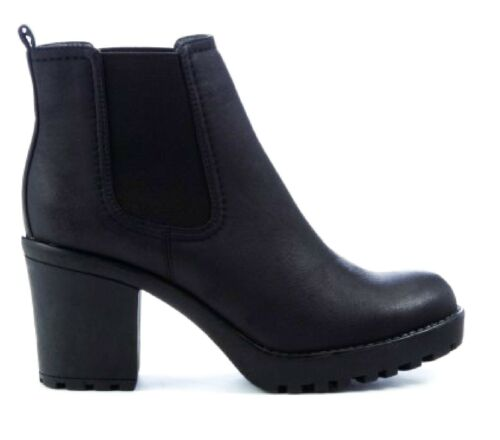 LADIES COMFY MID HEEL EVERYDAY ANKLE BLOCK CHELSEA BOOTS WOMENS WORK SHOES SIZE