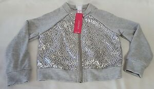 New-Girls-Gray-Sequin-Xhilaration-Long-Sleeve-Jacket-Coat-Children-039-s-Size-XS-4-5