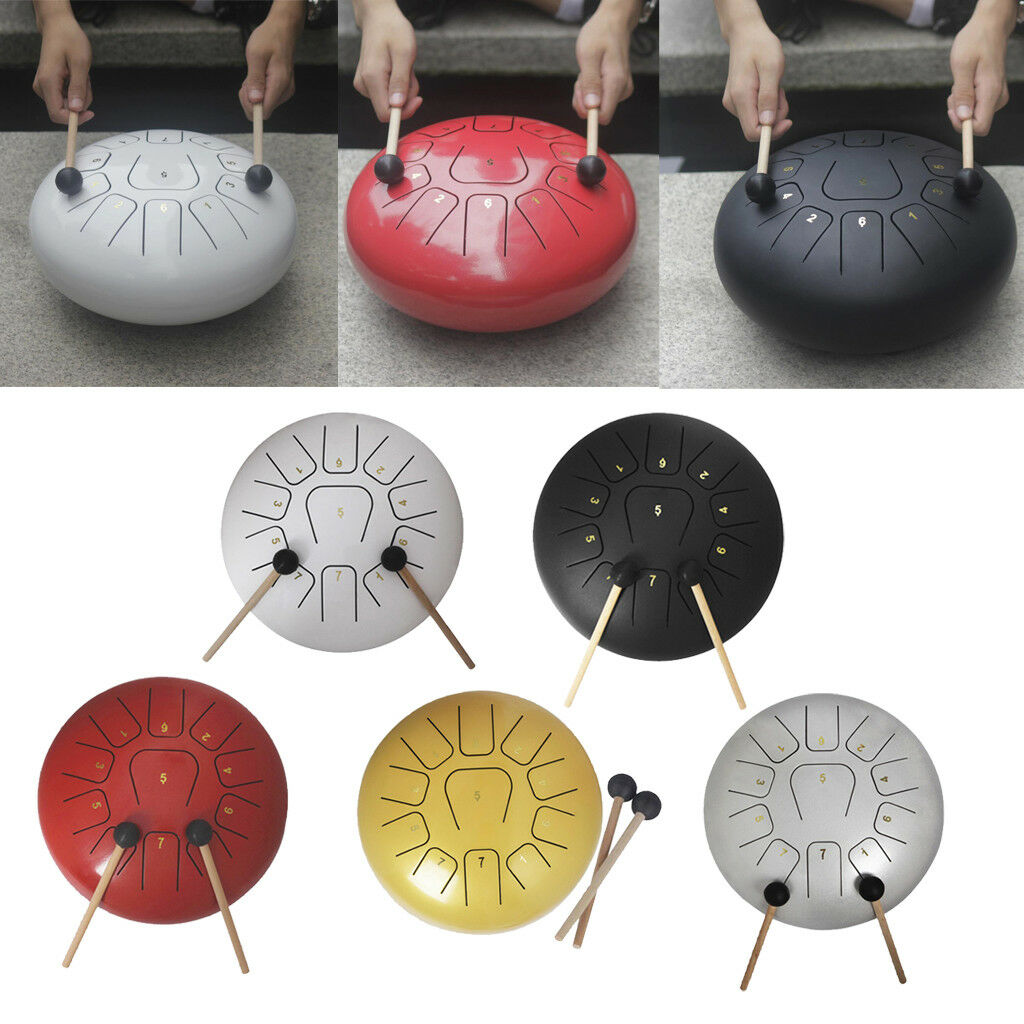 12'' Tongue Drum Handpan 11 Note Percussion Instrument for Yoga Meditation