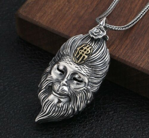 Argent sterling 925 3D monkey king Bouddha prier Amulette Pendentif Charm S2960
