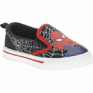 Boys-Marvel-Spiderman-Canvas-Shoes-Super-Hero-Slip-on-Black-Various-Sizes-NWT