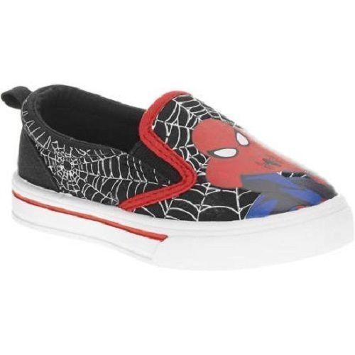 Boys Marvel Spiderman Canvas Shoes Super Hero Slip-on Black Various Sizes NWT
