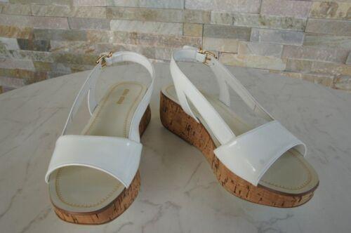 Bianco Nuovo Platform Wedges 5 Gr 290 Uvp Miu Shoes 36 Prec € Sandals EdW48qtn0x
