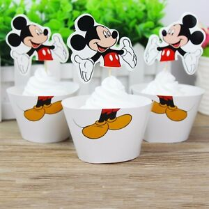 24-PCS-MICKEY-MOUSE-CUPCAKE-TOPPERS-amp-WRAPPERS-PARTY-SUPPLIES-DISNEY