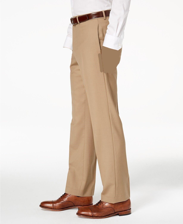 RALPH LAUREN Men 32W 30L CLASSIC Fit Trousers BEIGE FLAT FRONT DRESS PANTS