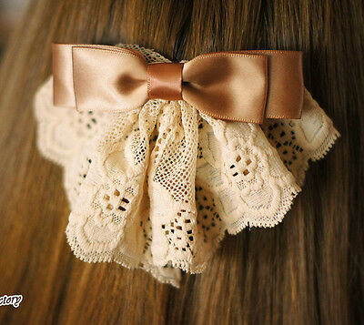 New Women Korea Hair Clip Big Bowknot Lady Lace Barrette Silk Fabric Ribbon Bow