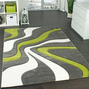 Image Is Loading Modern Abstract Rug Lime Green Grey White Thick