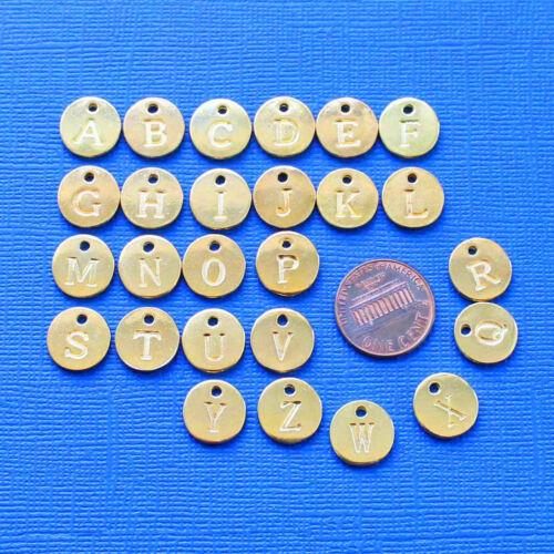 ALPHA2300 Alphabet Letter Charms Gold Tone Circles Full Alphabet 26 Charms