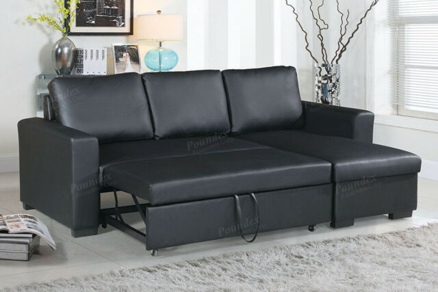 2Pcs Modern Black Faux Leather Sectional Storage Sofa Set With Pull-Out Bed