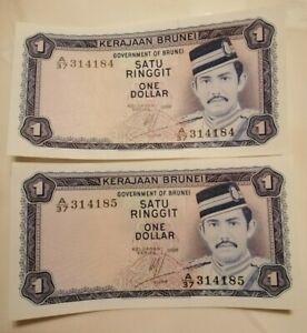 1-Dollar-Brunei-2nd-series-Pair-Running-nos-A-37-314184-85-UNC-7