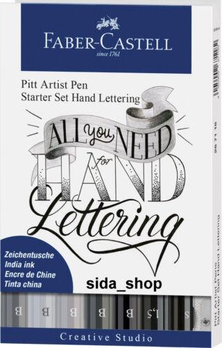 Faber-Castell tuschestift gris pitt artist pen handlettering starterset 9 piezas