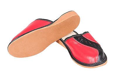 Mujer señoras del 100% De Cuero Negro y Rojo Zapatillas Mulas Zuecos todos los tamaños