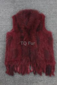 35998244904 Classical 100% Real Knitted Rabbit Fur Vest Gilet with Raccoon Fur ...