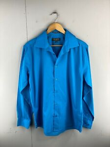 Vroom & Dreesmann Men's Long Sleeve Button Up Shirt Size L Blue