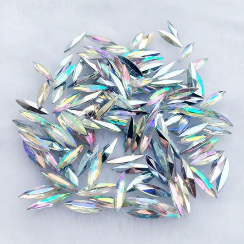 50-100Pcs 4*15mm Bling Crystal Clear Resin Cabochon Acryl Wedding Decorae Crafts